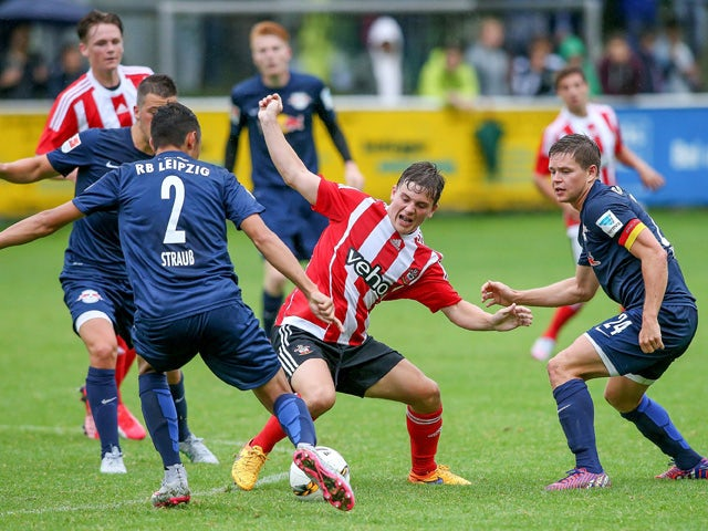 General action is seen during the preseason friendly match between RB Leipzig and FC Southampton at Bischofshofen stadium on July 8, 2015