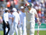 Steve Smith leaves the field after being dismissed during during day two of the First Test of The Ashes on July 9, 2015