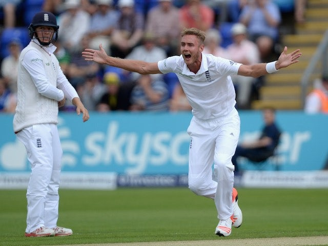 Stuart Broad appeals for the wicket of Australia's Chris Rogers on day two of the First Test of The Ashes on July 9, 2015