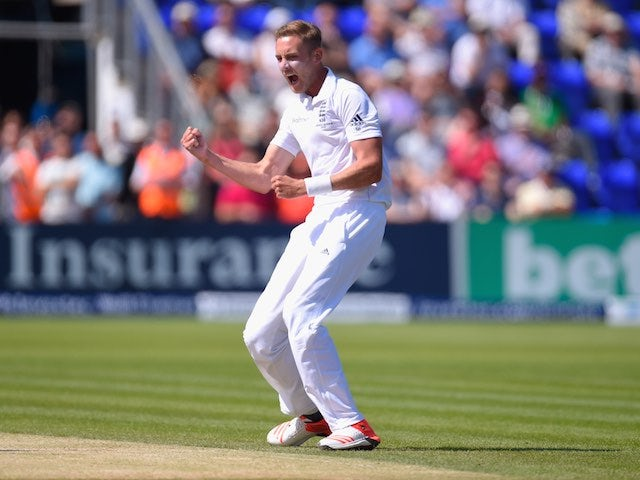 Stuart Broad celebrates dismissing Shane Watson on day three of the First Test of The Ashes on July 10, 2015