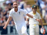 Stuart Broad celebrates dismissing Chris Rogers on day four of the First Test of The Ashes on July 11, 2015