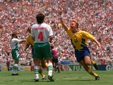 Tomas Brolin of Sweden celebrates after scoring the opening goal against Bulgaria 1994 world cup finals third and fourth playoff match at the rose bowl stadium in Pasadena, California