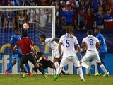 Clint Dempsey #8 of USA scores against Honduras during the 2015 CONCACAF Gold Cup Group A match between USA and Honduras at Toyota Stadium on July 7, 2015