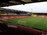 A general view of Vicarage Road Stadium under going Renovations to the East Stand prior to the Sky Bet Championship match between Watford and Sheffield Wednesday at Vicarage Road on December 14, 2013