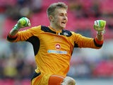 Will Norris of Cambridge United celebrates his teams first goal during the FA Carlsberg Trophy Final 2014 at Wembley Stadium on March 23, 2014