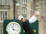 Greg Owen of England tees off on two during a practice round ahead of the 144th Open Championship at The Old Course on July 13, 2015