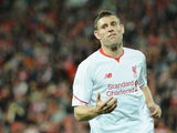 James Milner of Liverpool FC reacts during the international friendly match between Brisbane Roar and Liverpool FC at Suncorp Stadium on July 17, 2015