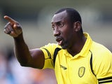 Jimmy Floyd Hasselbaink, the Burton Albion manager, shouts instructions during the pre season friendly match between Burton Albion and Wolverhampton Wanderers at the Pirelli Stadium on July 18, 2015