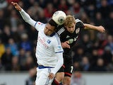 Hamburg's defender Jonathan Tah vies for the ball during the German first division Bundesliga football match Bayer Leverkusen vs Hamburger SV in the German city of Leverkusen on November 9, 2013
