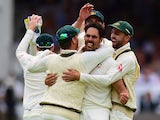 Australia's Mitchell Johnson celebrates a wicket during day two of the second Ashes Test at Lord's on July 17, 2015