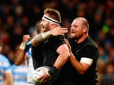 Kieran Read of the New Zealand All Blacks celebrates his try with Tony Woodcock during The Rugby Championship match between the New Zealand All Blacks and Argentina at AMI Stadium on July 17, 2015