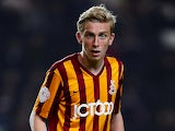 Oliver McBurnie of Bradford City in action during the Capital One Cup Third Round match between MK Dons and Bradford City at Stadium mk on September 23, 2014