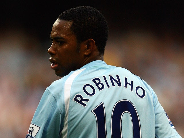 Robinho of Manchester City in action during the Barclays Premier League match between Manchester City and Chelsea at The City of Manchester Stadium on September 13, 2008