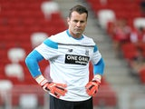 Shay Given of Stoke City warms up before the Barclays Asia Trophy match between Stoke City and Singapore Select XI at the National Stadium on July 18, 2015