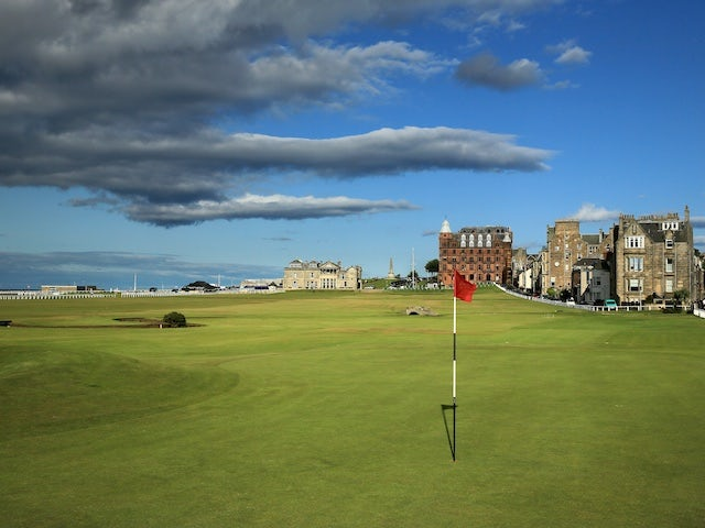 The green on the 495 yards par 4, 17th hole 'Road' with the 357 yards par 4, 18th hole 'Tom Morris' behind on the Old Course at St Andrews venue for The Open Championship in 2015, on July 29, 2014 in St Andrews, Scotland