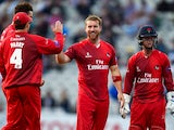 Lancashire bowler Steven Croft celebrates after dismissing Brendon McCullum during the NatWest T20 blast match between Birmingham Bears and Lancashire Lightning at Edgbaston on July 17, 2015