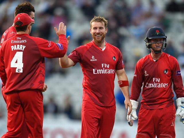 Lancashire bowler Steven Croft celebrates after dismissing Brendon McCullum during the NatWest T20 blast match between Birmingham Bears and Lancashire Lightning at Edgbaston on July 17, 2015