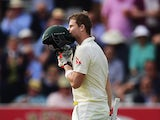 Steven Smith celebrates his century on day one of the second Ashes Test at Lord's on July 17, 2015