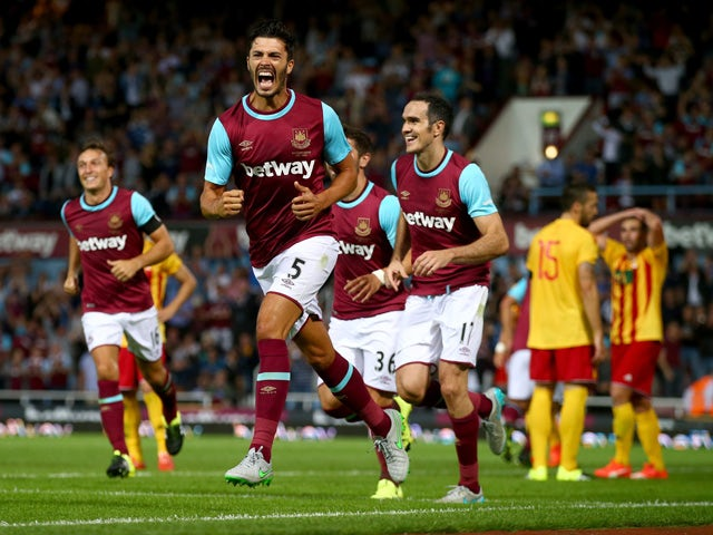 James Tomkins of West Ham celebrates after his goal during the UEFA Europa League second qualifying round (first leg) match between West Ham and FC Birkirkara at the Boleyn Ground on July 16, 2015