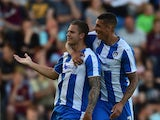 George Moncur of Colchester United celebrates his goal during the pre season friendly match between Colchester and West Ham United at Weston Homes Community Stadium on July 21, 2015