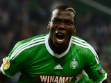 St Etienne's French forward Florentin Pogba (R) during the Europa League football match AS Saint-Etienne against FC Internazionale Milan on November 6, 2014