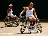 Jordanne Whiley of Great Britain in action in the Wheelchair Ladies Doubles against Lousie Hunt of Great Britain and Katharina Kruger of Germany during day eleven of the Wimbledon Lawn Tennis Championships at the All England Lawn Tennis and Croquet Club o
