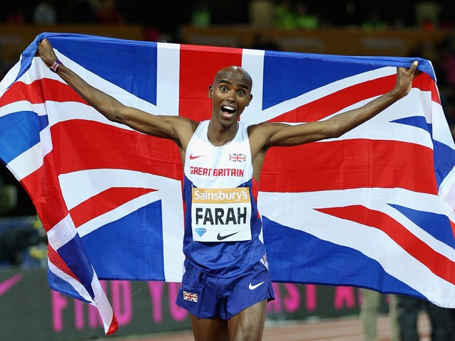 Mo Farah of Great Britain celebrates after winning the Mens 3000m Final during day one of the Sainsbury's Anniversary Games at The Stadium - Queen Elizabeth Olympic Park on July 24, 2015