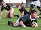 Morne Steyn of South Africa scores a try during the Tri Nations match between South Africa and the All Blacks at the Absa Stadium on August 1, 2009