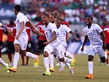 Valentin Pimentel #2.Gabriel Torres #8 Roberto Nurse #9 and Armando Cooper #11 of Panama celebrate the win over Trinidad & Tobago during the quarterfinals of the 2015 CONCACAF Gold Cup at MetLife Stadium on July 19, 2015