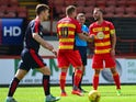 Sean Welsh of Partick Thistle celebrates scoring a goal in the second half during a pre season friendly match between Partick Thistle FC and Rotherham United at Firhill Stadium on July 25, 2015