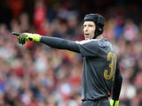 Petr Cech of Arsenal shouts instructions during the Emirates Cup match between Arsenal and VfL Wolfsburg at the Emirates Stadium on July 26, 2015