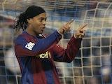 Barcelona's Brazilian Ronaldinho celebrtes his goal against Zaragoza during their Spanish league football match at Romareda Stadium in Zaragoza on February 16, 2008