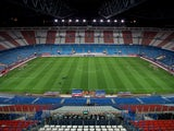 General view of Vicente Calderon Stadium pitch and grandstands prior to start of the La Liga match between Club Atletico de Madrid and Real Betis Balompie on October 27, 2013