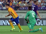 Barcelona's Uruguayan forward Luis Suarez (L) celebrates after scoring a goal during the International Champions Cup football match between Fiorentina and Barcelona at the Artemio Franchi Stadium in Florence on August 2, 2015