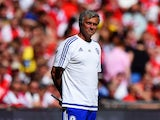 Head coach Jose Mourinho of Chelsea looks on during the FA Community Shield match between Chelsea and Arsenal at Wembley Stadium on August 2, 2015