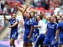 Chelsea celebrate after their victory during the Women's FA Cup Final match between Chelsea Ladies FC and Notts County Ladies at Wembley Stadium on August 1, 2015
