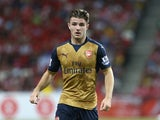 Dan Crowley of Arsenal dribbles the ball during the Barclays Asia Trophy match between Arsenal and Singapore Select XI at National Stadium on July 15, 2015