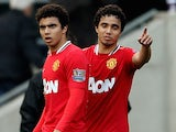 Fabio Da Silva (L) and Rafael Da Silva during the Barclays Premier League Match between Wolverhampton Wanderers and Manchester United at Molineux on March 18, 2012