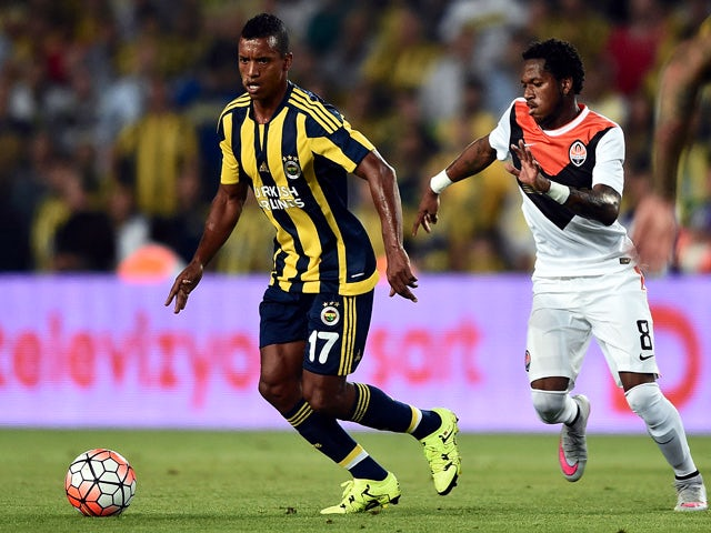 Fenerbahce's Portuguese Luis Nani vies for the ball with Shakhtar Donetsk's Brazilian Fred during the UEFA Champions League third round qualifying match between Fenerbahce and Shakhtar Donetsk at the Sukru Saracoglu Stadium on July 28, 2015