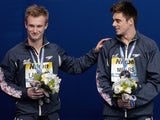 Jack Laugher and Chris Mears celebrate their bronze medal in the men's 3m synchro at the World Aquatics Championship on July 28, 2015