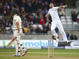 James Anderson celebrates the wicket of Mitchell Marsh during day one of the third Ashes Test between England and Australia at Edgbaston on July 29, 2015