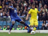 Gaetano Berardi of Leeds United and Arouna Kone of Everton battle for the ball during the Pre Season Friendly match between Leeds United and Everton at Elland Road on August 1, 2015
