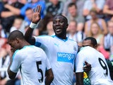 Moussa Sissoko of Newcastle gestures during the Pre Season Friendly between Newcastle United and Borussia Moenchengladbach at St James' Park on August 1, 2015