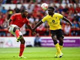 Michail Antonio of Nottingham Forest battles with Micah Richards of Aston Villa during the Pre Season Friendly match between Nottingham Forest and Aston Villa at City Ground on August 1, 2015