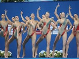 The Russia team compete in the Women's Free Combination Synchronised Swimming Final on day eight of the 16th FINA World Championships at the Kazan Arena on August 1, 2015