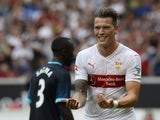 Stuttgart's forward Daniel Ginczek reacts after he scored during the friendly football match between VfB Stuttgart and Manchester City in Stuttgart, southern Germany, on August 1, 2015