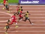 Trinidad and Tobago's Richard Thompson , Jamaica's Asafa Powell, US' Tyson Gay, Jamaica's Yohan Blake, US' Justin Gatlin, Jamaica's Usain Bolt, US' Ryan Bailey, The Netherlands' Churandy Martina compete in the men's 100m final at the athletics event of th