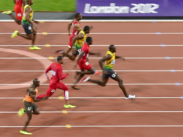 Trinidad and Tobago's Richard Thompson , Jamaica's Asafa Powell, US' Tyson Gay, Jamaica's Yohan Blake, US' Justin Gatlin, Jamaica's Usain Bolt, US' Ryan Bailey, The Netherlands' Churandy Martina compete in the men's 100m final at the athletics event of th