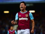 Mauro Zarate of West Ham celebrates scoring his side's second goal during the UEFA Europa League third qualifying round match between West Ham United and Astra Giurgiu at the Boleyn Ground on July 30, 2015