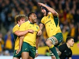 Sekope Kepu of the Wallabies celebrates scoring a try during The Rugby Championship match between the Australia Wallabies and the New Zealand All Blacks at ANZ Stadium on August 8, 2015